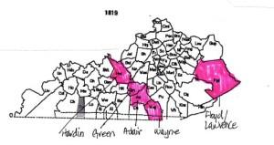 Kentucky Counties in 1819